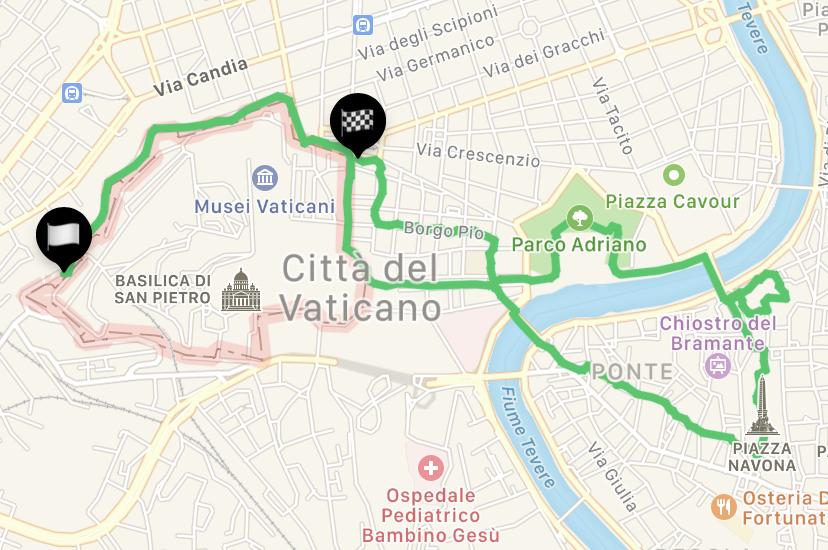 mappa del percorso che porta da San Pietro a piazza Navona per fare jogging a Roma